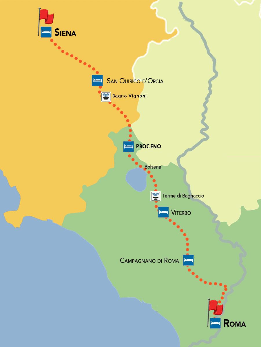 mappa sentiero francigena