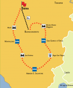 mappa giro val d'orcia