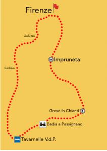 mappa tour chianti
