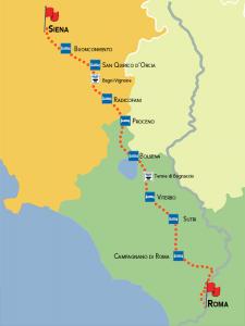 mappa francigena 9 tappe