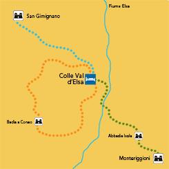 mappa francigena toscana trekking