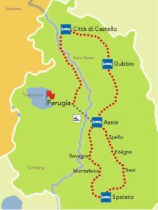 mappa tour umbria bici