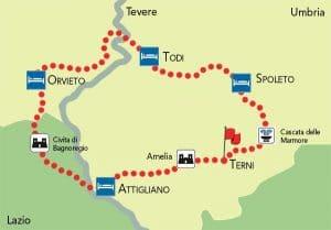 Umbria cicloturismo mappa
