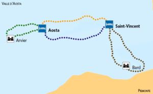 mappa tour castelli valle daosta